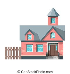 Vector flat style illustration of red house. Icon for web.