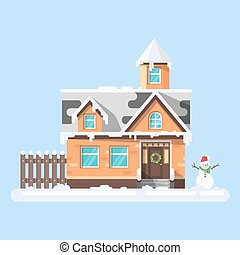 Vector flat style illustration of winter house with snowman....