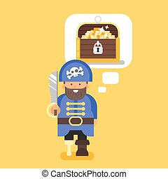 Vector flat style illustration of pirate and treasure chest.