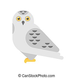 Vector flat style illustration of snowy white owl. Isolated...
