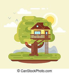 Vector flat style illustration of house on tree. Icon for...