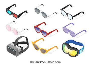 Isometric 3d vector set of glasses. Isolated on white...