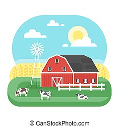 Vector flat style illustration of farm with cows.