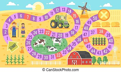 Vector flat style illustration of kids farm board game...