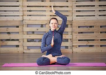 Llevando, mujer, Practicar, trabajando, ejercicio, loto,...