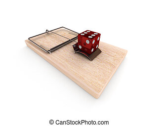 Gambling trap. Mousetrap with the dice isolated on white...