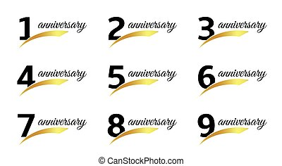Isolated black color numbers with word anniversary icons...