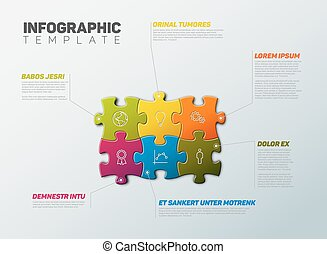 Vector Puzzle Infographic report template