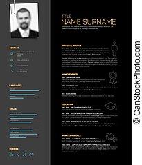 Minimalistic black cv / resume template - Vector minimalist...