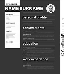 black and white cv / resume template with nice typography -...