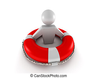 Life insurance. Red lifebuoy with human isolated on white...