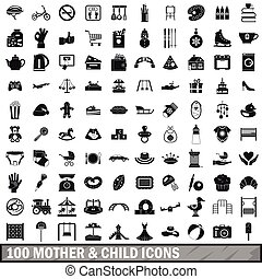 100 mother and child icons set, simple style - 100 mother...