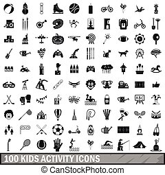 100 kids activity icons set, simple style