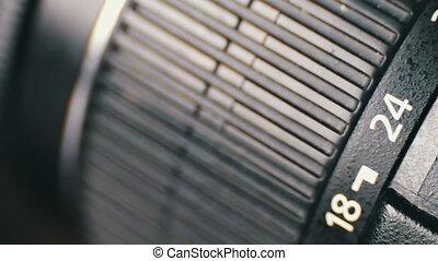 Macro of Camera Lens, zoom, iris, focus ring - Macro shot of...