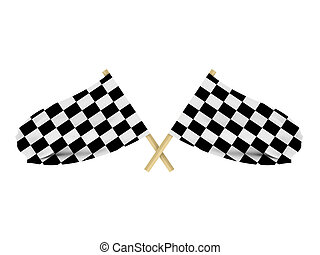 Race flags isolated on white background. High quality 3d...