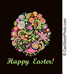 Easter greeting card with decorative colorful floral egg