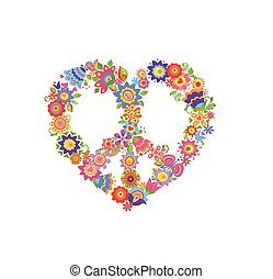Floral print with peace symbol