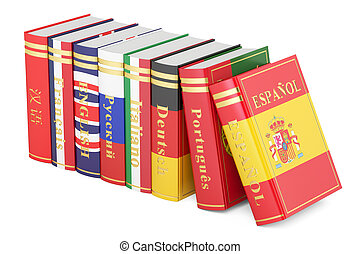 Languages Books, 3D rendering isolated on white background