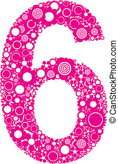 Number 6 - Illustration with number six from flowers