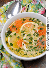 chicken Orzo soup - Homemade, tender soup with chicken,...