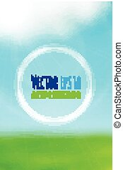 Vector blurry green field and blue sky background.
