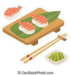 Nigiri Sushi with leaf, shrimp, chopsticks, wasabi, board -...