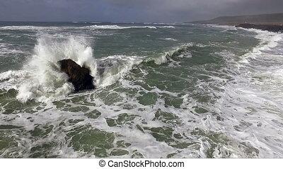 Waves Crash Pacific Ocean Coast Storm Brewing - A storm...