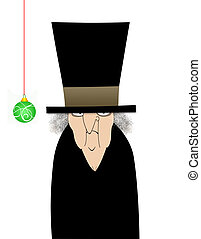 Scrooge Isolated on White - Humorous illustration cartoon of...