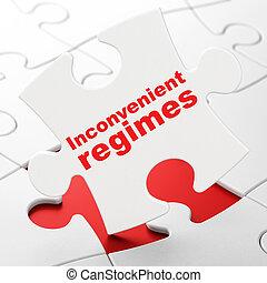 Politics concept: Inconvenient Regimes on puzzle background