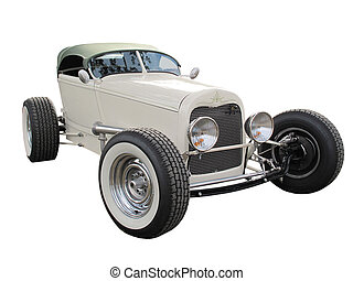 Hotrod - Vintage modified hotrod isolated on a white...