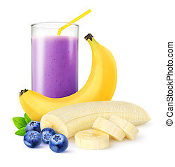 Blueberry banana smoothie - Isolated fruit drink. One glass...