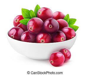 Isolated cranberries in a bowl - Isolated cranberries. White...