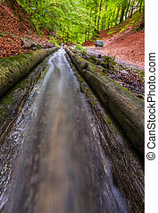 Flowing Water in Water channel - Closeup of Flowing Water in...