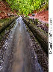 Flowing Water in Water channel - Closeup of Flowing Water in...