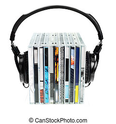 Headphones on stack of CDs - HI-Fi headphones on stack of...