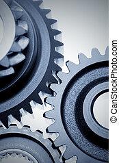 Metal gears    - Closeup of three metal gears