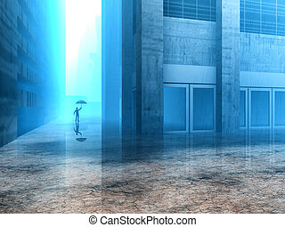 man with an umbrella - 3d illustration of a man with an...