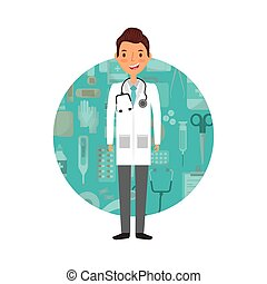 medical doctor man cartoon icon over white background....
