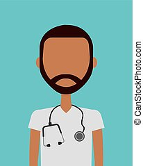 Medical doctor man - medical doctor man icon over blue...