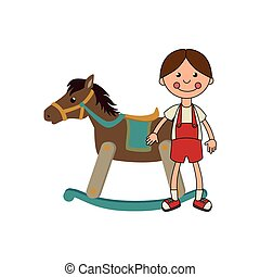 wooden horse toy icon vector illustration design