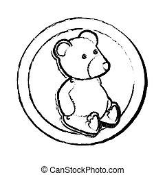 cute plush doll icon vector illustration design