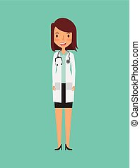 medical doctor woman icon over turquoise background....