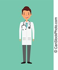 medical doctor man cartoon icon over turquoise background....