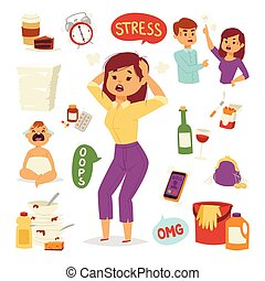 Vector illustration of funny brunette stressed woman with...