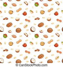 Seamless pattern with illustrations of nuts vector. -...