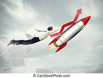 Take-off business success. 3D Rendering - Businessman flying...