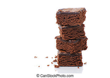 Brownie Tower - brownies on white background