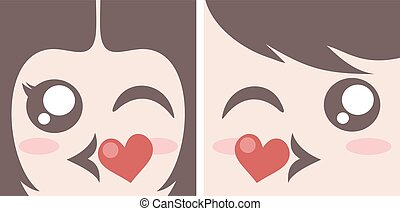 kissing couple faces - design of kissing couple faces