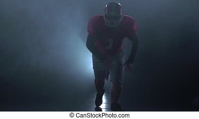 Rapid attack player in american football. Slow moton - Rapid...