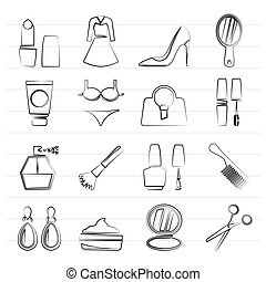 female objects and accessories icons